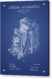 Camera Apparatus Patent From 1887 - Blueprint Acrylic Print