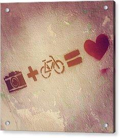 #camera #plus #bike #equal #love #luv Acrylic Print