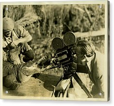 Cameraman With Alligator Acrylic Print by Vintage