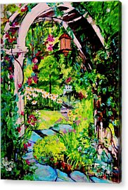 Camille's Secret Cottage Garden  Acrylic Print by Helena Bebirian