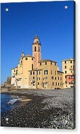Acrylic Print featuring the photograph Camogli Seaside And Church by Antonio Scarpi