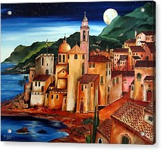 Camogli Under The Moon Acrylic Print