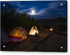 Campfire And Moonlight Acrylic Print by Adam Romanowicz