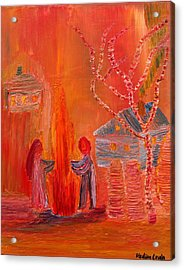 Campfire Date Or Silhouettes Of Innocence Acrylic Print by Vadim Levin