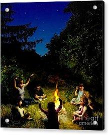 Campfire Story Acrylic Print by Tom Straub