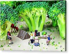 Camping Among Broccoli Jungles Miniature Art Acrylic Print