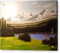 Camping By The Mountains. Acrylic Print