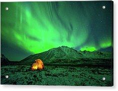 Camping Under Northern Lights Acrylic Print by Piriya Photography