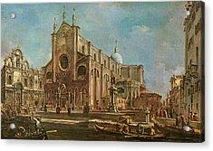 Campo Dei Santi Giovanni E Paolo And The Scuola Grande Di San Marco, Venice Oil On Canvas Acrylic Print by Francesco Guardi