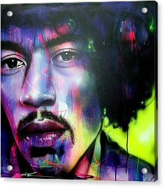 Jimi Hendrix - ' Can You Hear Me ' Acrylic Print by Christian Chapman Art