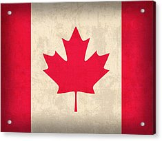 Canada Flag Vintage Distressed Finish Acrylic Print