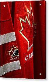 Canada Hockey Jersey Acrylic Print by Paul Wash
