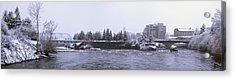 Canada Island And Spokane River Acrylic Print by Daniel Hagerman