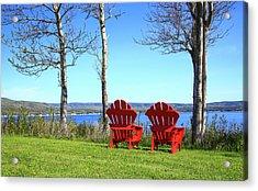Canada, Nova Scotia, Adirondack Chairs Acrylic Print by Patrick J. Wall