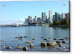 Canada Place And The Vancouver Bc Skyline Canada. Acrylic Print by Gino Rigucci