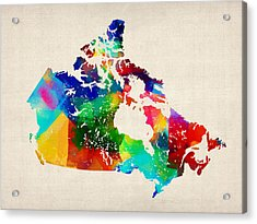 Canada Rolled Paint Map Acrylic Print by Michael Tompsett