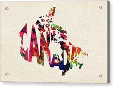 Canada Typographic Watercolor Map Acrylic Print