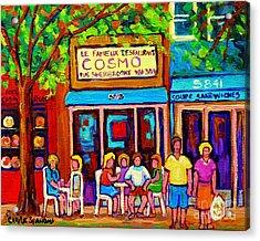 Canadian Artists Montreal Paintings Cosmos Restaurant Sherbrooke Street West Sidewalk Cafe Scene Acrylic Print by Carole Spandau