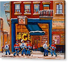 Canadian  Artists Paint Hockey And Montreal Streetscenes Over 500 Prints Available  Acrylic Print by Carole Spandau