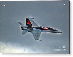 Canadian Cf18 Hornet Fly By Acrylic Print by Cathy  Beharriell