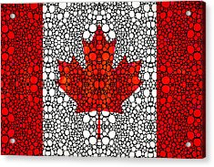 Canadian Flag - Canada Stone Rock'd Art By Sharon Cummings Acrylic Print by Sharon Cummings