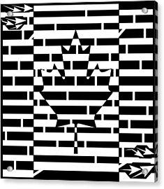 Canadian Flag Maze  Acrylic Print by Yonatan Frimer Maze Artist