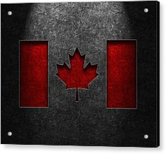 Acrylic Print featuring the digital art Canadian Flag Stone Texture by Brian Carson