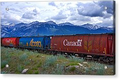 Canadian Freight Train In Jasper #2 Acrylic Print