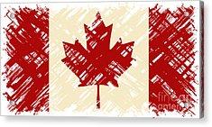 Canadian Grunge Flag. Vector Acrylic Print by Khvost