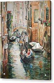 Canal 3 Row A Boat Acrylic Print by Becky Kim