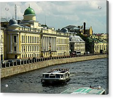 Canal And Historic Buildings Saint Petersburg Russia Acrylic Print by Robert Ford