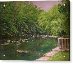 Canal At Prallsville Mills Acrylic Print by Aurelia Nieves-Callwood