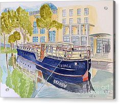 Acrylic Print featuring the painting Canal Boat by Eva Ason