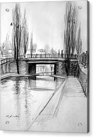 Canal Bridge In Paris Acrylic Print by Mark Lunde