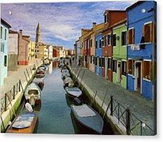 Canal Burano  Venice Italy  Acrylic Print