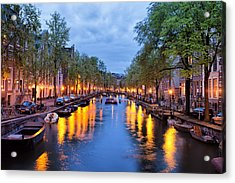 Canal In Amsterdam At Dusk Acrylic Print