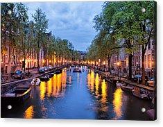 Canal In Amsterdam At Dusk Acrylic Print by Artur Bogacki