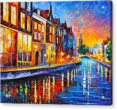 Canal In Amsterdam Acrylic Print by Leonid Afremov