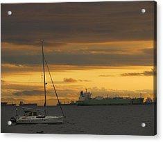 Canal Ship Sunrise Acrylic Print