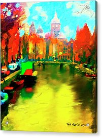 Canals Of Amsterdam Acrylic Print by Ted Azriel