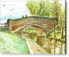 Acrylic Print featuring the painting Canal-bridal Path In Staffordshire  by Teresa White