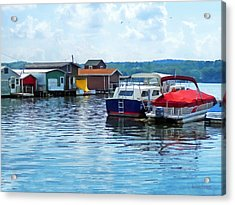 Canandaigua Fishing Shacks Acrylic Print by Susan Savad