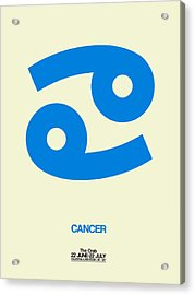 Cancer Zodiac Sign Blue Acrylic Print