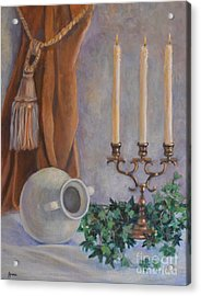 Candelabra With White Vase Acrylic Print by Jana Baker