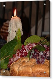 Candle And Grapes Acrylic Print