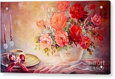 Candlelight Roses And Hat Acrylic Print