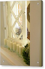 Acrylic Print featuring the photograph Candles And Wicker And Window by Jean Goodwin Brooks
