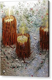 Acrylic Print featuring the painting Candles In The Snow.. by Cristina Mihailescu