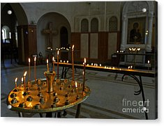 Candles Inside The Tsminda Sameba Cathedral Tbilisi Acrylic Print