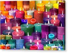 Candles Rainbow Colours Acrylic Print by Alixandra Mullins